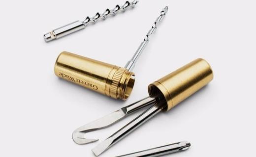 超小巧的黄铜胶囊工具箱:暗藏5种实用工具