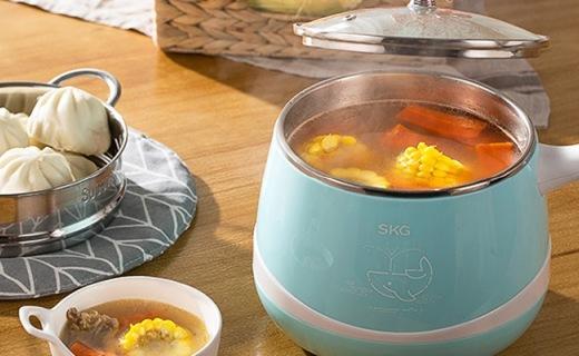 SKG韩式电热锅:双重温控多功能,分离式锅体易清洗