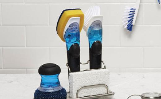 OXO 多功能刷:可自动添加清洁剂,手不沾水也能洗碗