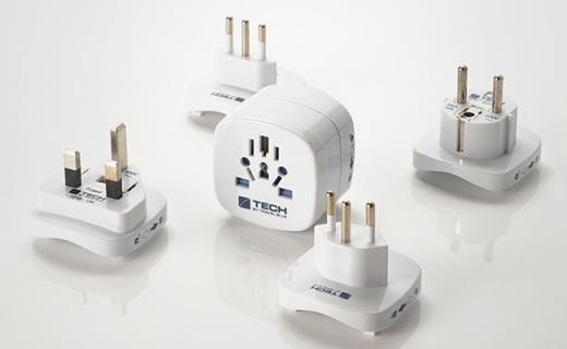 蓝旅转换插座:多种组合插头设计,出国旅行必备