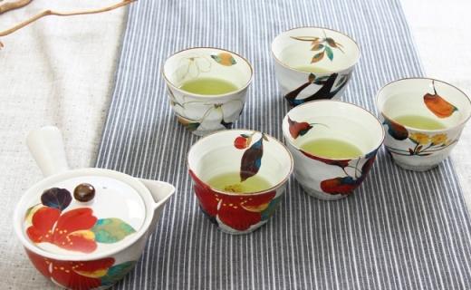 和蓝瓷茶碗套装:春花元素设计,让品茶变得更有逼格