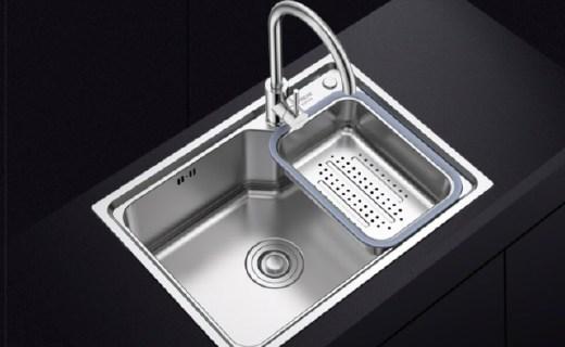箭牌单槽水槽:304不锈钢材质防锈耐用,安全健康易清洁
