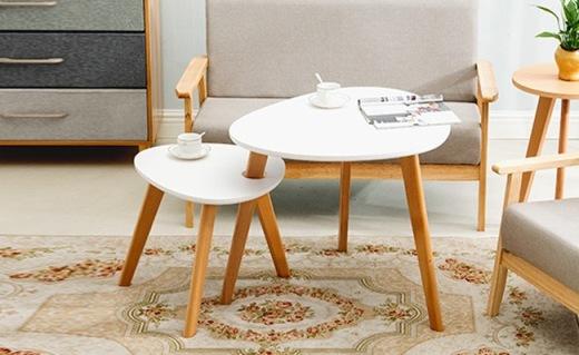 一米色彩茶几组合:进口榉木与板材结合,独特拆分设计简约时尚