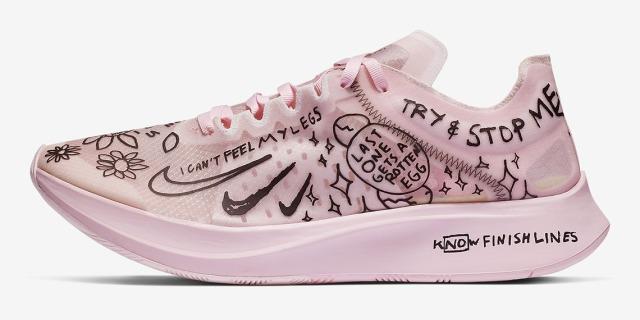粉色情人节涂鸦风格!耐克发布新款Zoom Fly SP联名跑鞋