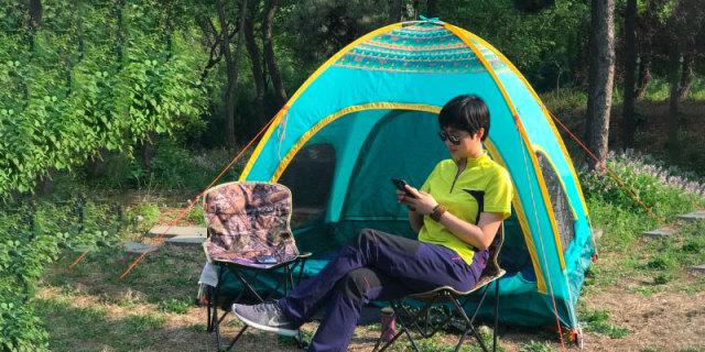 户外露营一秒速搭,黑鹿金色田园帐篷体验