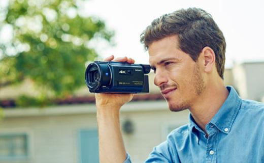 索尼FDR-AXP55摄像机:4K超清拍摄支持五轴防抖,内置投影