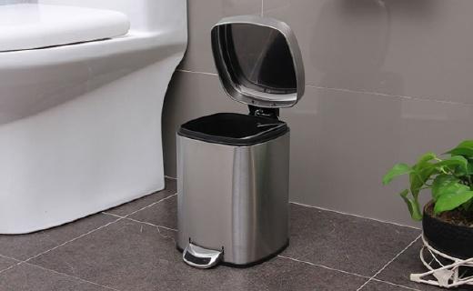 欧润哲不锈钢垃圾桶:6L超大容量,静音开合还隔味儿