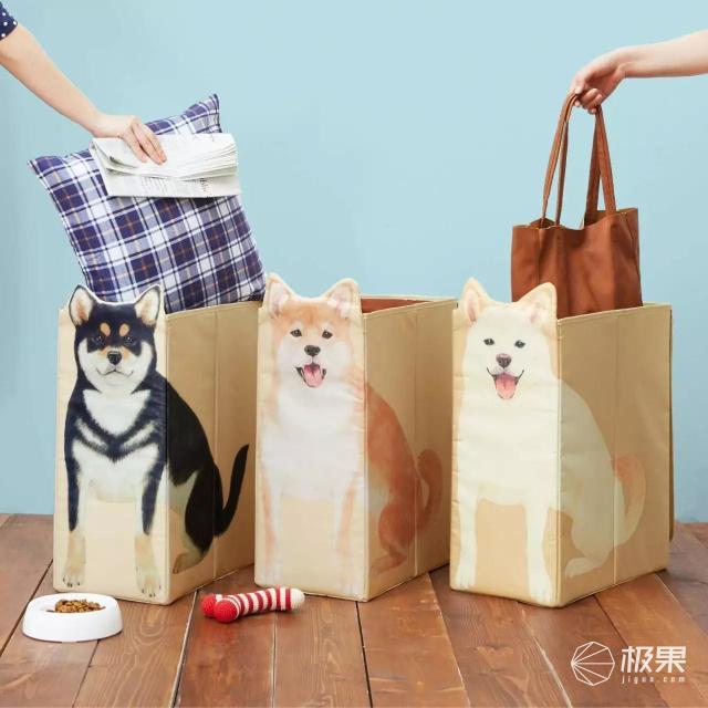 PolarBear柴犬系列柴犬纸巾遥控器收纳盒和柴柴一起吃饭