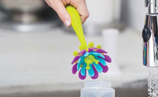 Boon硅胶小花朵刷:小花造型一刷多用,奶瓶奶嘴都能清洗