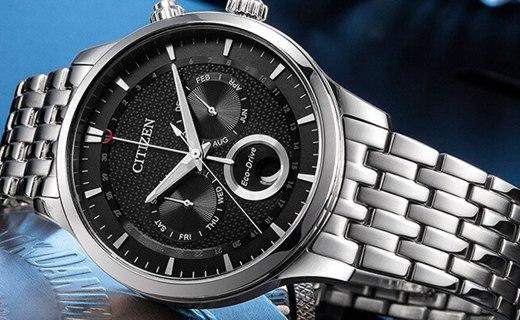 西铁城男士光动能手表 :蓝宝石表镜不易磨损,光动能机芯持久续航