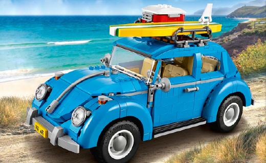 LEGO新款大众甲壳虫,冲浪主题细节炸裂