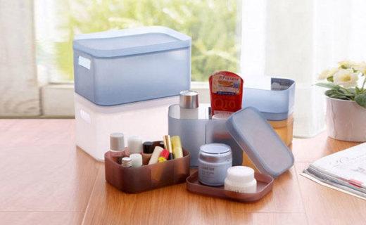 泽臣收纳盒四件套:健康环保PP材质,磨砂质感防尘防潮