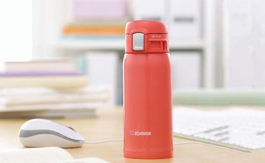 象印不锈钢保温杯:轻量好携带,单手开合更方便
