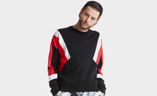 FUN拼接针织卫衣:面料柔和细腻,配色简单动感