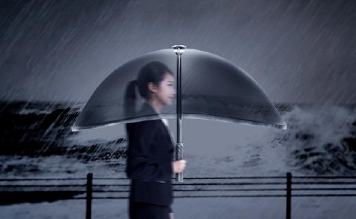 """带""""全面屏""""的充气雨伞,颜值高还能自动折叠"""
