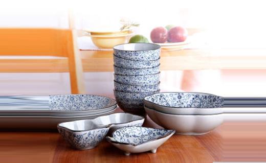 山田烧餐具套装:传统釉下彩工艺,美食与美器可兼得