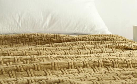 Vanilla Butterfly手工毯 :羊毛触感温暖舒适,竹节纹理凸现质感