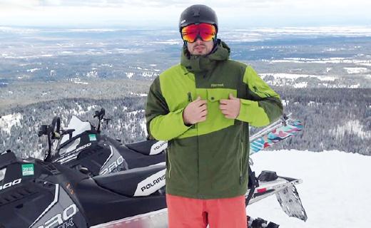 专为滑雪设计的土拨鼠冲锋衣,两层面料无缝拼接,合身又透气
