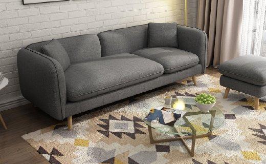 择木宜居北欧风沙发组合:天然实木结构,优质海绵回弹出色