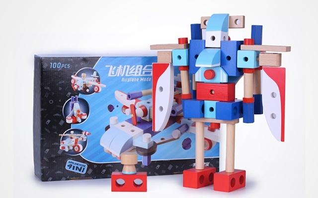 木玩世家 管乐飞机螺母组合拼装玩具
