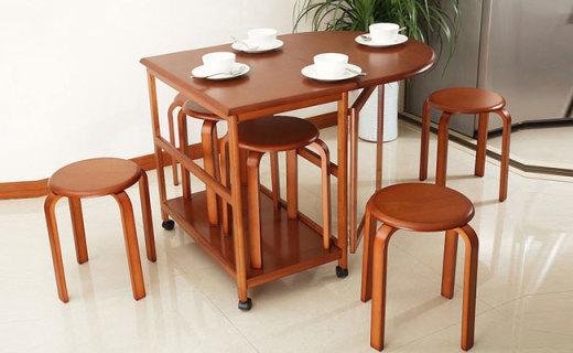 英尼斯折叠餐桌:优质橡胶木材质,轻便结实节省空间