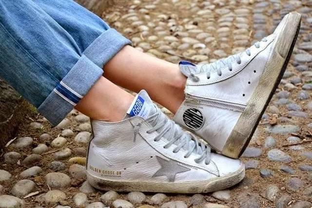 GOLDENGOOSE白/绿皮质经典款运动鞋