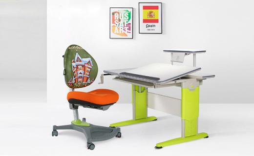 Ecus毕加索系列儿童学习书桌:安全机械升降可调节,军事级钢材