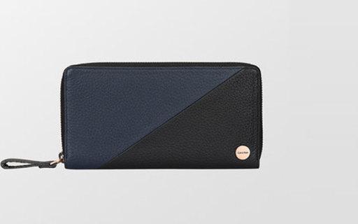 Calvin Klein长款钱包:拼色外观,荔枝纹牛皮材质,时髦又好用