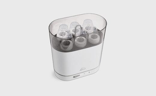 飞利浦新安怡奶瓶消毒锅:一次消毒六只,蒸汽杀菌六分钟就搞定