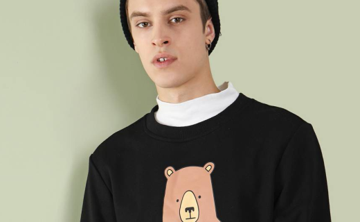 Teebacco印花圆领卫衣:萌趣印花图案,纯棉面料舒适柔软