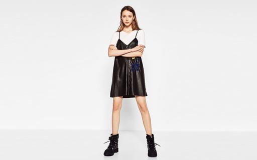 ZARA TRF衬衫式连衣裙:短裙凸显大长腿,双面刺绣摩登美观