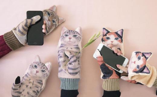 吸猫必备,日本走红超萌喵星人耳暖手套