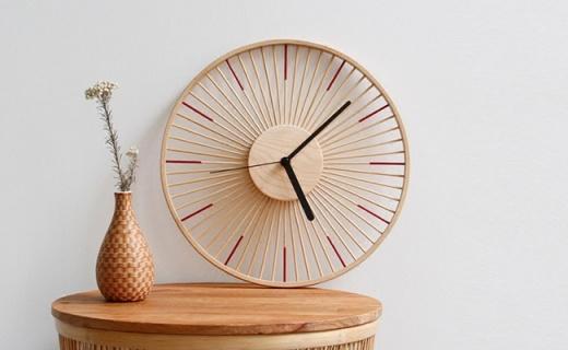 自然家竹时挂钟:天然楠竹枫木制成,清新自然的原始美
