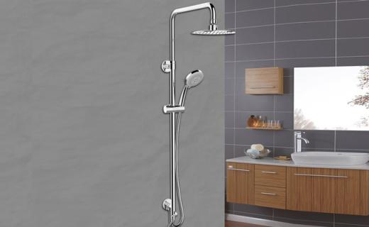 科勒三出水淋浴柱:8寸超薄顶喷,空气注入喷水更畅快