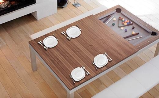 藏着台球桌的餐桌,吃完饭一起来两杆