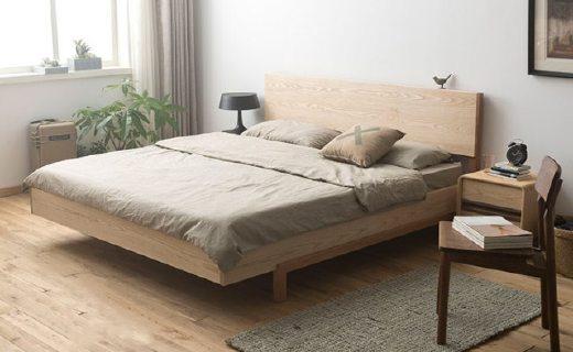厌式房间双人床:天然纹理床头无修色,高强度樱桃木骨架