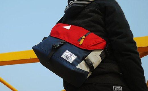 ACROSS撞色单肩包:面料防泼水设计,多隔层内里置物方便