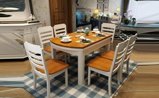 木帆餐桌椅组合:坚固耐用橡胶木材质,方桌圆桌随心变