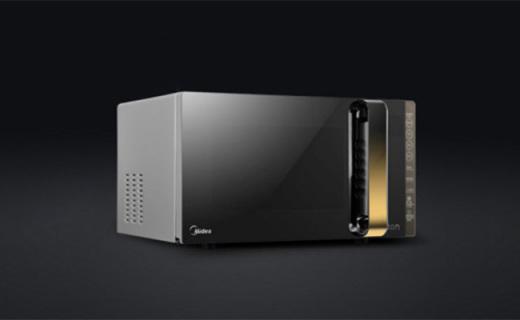 美的X3-233A微波炉:黑色镜面高贵外观,变频加热省时节能