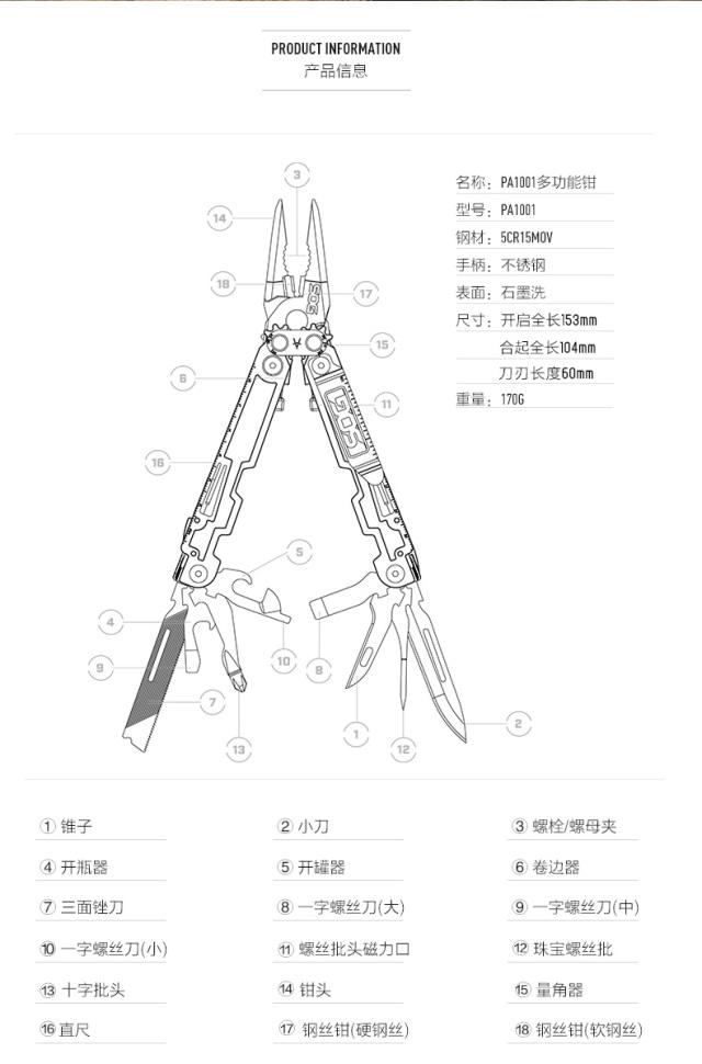 索格(SOG)PA2001多功能工具钳
