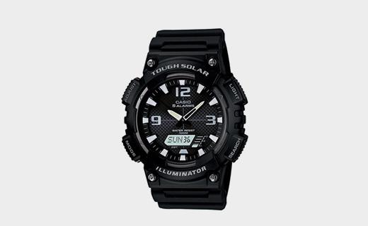 卡西欧光动能运动手表:光能充电方便实用,100米防水白菜价