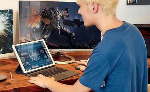华硕灵焕3二合一平板电脑:3K屏持久续航,指纹识别背光键盘