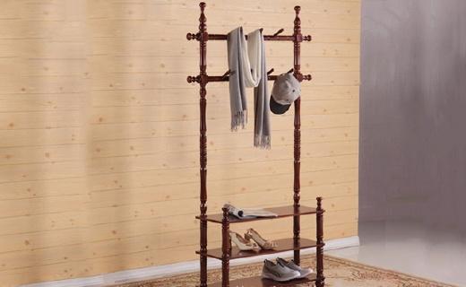 咖迪落地衣帽架:实木材质稳固耐用,衣帽鞋子一并收纳