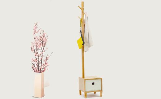 索乐衣帽架:天然楠竹材质,多功能可坐可收纳