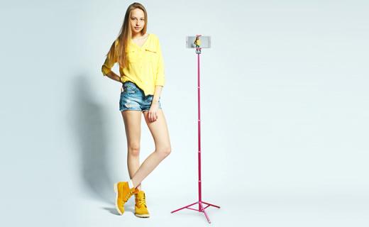 辉驰LP蓝牙自拍杆:防滑铝镁合金脚架,可做三脚架带蓝牙快门