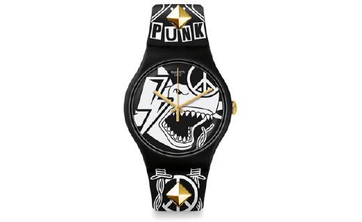 Swatch新腕表:酷黑漫画风,摇滚朋克