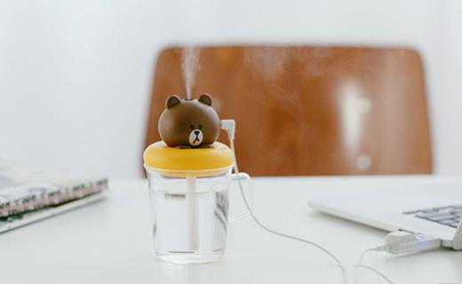 LINE FRIENDS加湿器:滤芯过滤加湿更卫生,USB供电即插即用