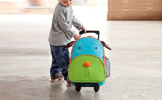 Skip Hop动物园儿童行李箱:外形呆萌,背带拉杆两种携带方式