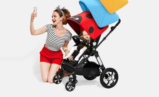 爱贝丽婴儿推车:环保健康睡篮木板,呵护宝宝舒适遮阳