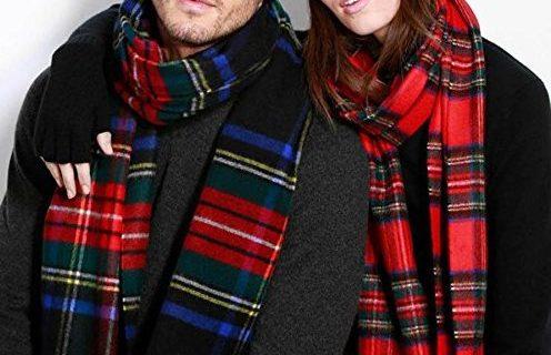 Johnstons of Elgin围巾:美利奴羊毛,经典格纹时尚大方